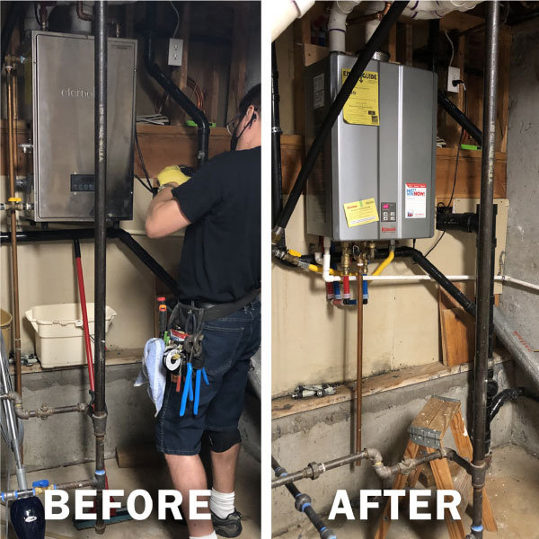 Eternal tankless water heater replacement with Rinnai tankless unit.
