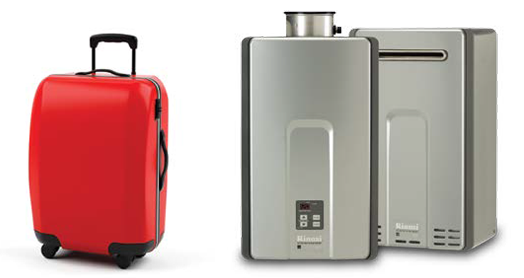 Tankless water heaters are as big as a carry-on suitcase!